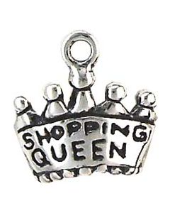 "Sterling Silver Shopping Charm: ""Shopping Queen"" On Crown"