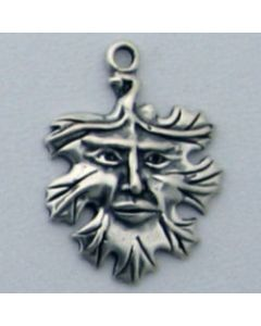 Sterling Silver Leaf w/ Face Charm, Green Man, Fall, Autumn