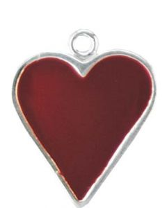 Sterling Silver Cards Charm: Red Enamel Heart (Playing Card Heart)
