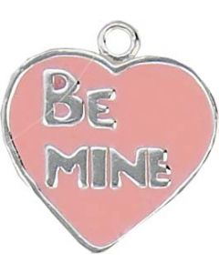 "Sterling Silver Heart Charm: Pink Enamel, ""Be Mine"""