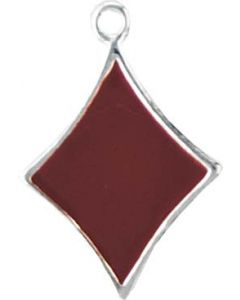 Sterling Silver Cards Charm: Red Enamel Diamond (Playing Card Diamond)