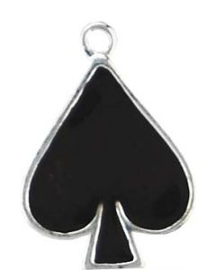 Sterling Silver Cards Charm: Black Enamel Spade (Playing Card Spade)
