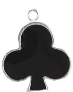 Sterling Silver Cards Charm: Black Enamel Club (Playing Card Club)