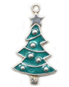 Sterling Silver Tree Charm: Christmas Tree, Sterling & Green Enamel