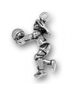 Sterling Silver Volleyball Player Charm, Girl T-615