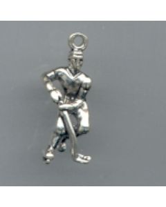 Sterling Silver Hockey Player Charm, Small T-618