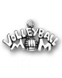 Sterling Silver Volleyball Mom Charm T-646