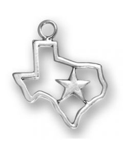 Sterling Silver State Of Texas Charm: Open With Star