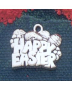 """Sterling Silver Easter Egg Charm: """"Happy Easter"""" w/ Eggs"""