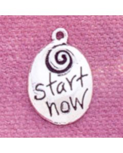 "Sterling Silver Inspirational Charm: ""Start Now"""