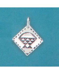 Sterling Silver Quilt Square Charm: Cherry Basket
