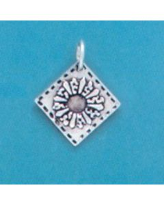 Sterling Silver Quilt Square Charm: Dresden Plate