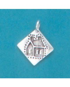 Sterling Silver Quilt Square Charm: School House
