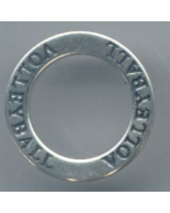 Sterling Silver Affirmation Circle Charm: Volleyball