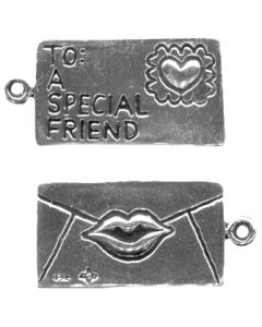 "Sterling Silver Love Letter Charm: Envelope W/ ""To A Special Friend"""