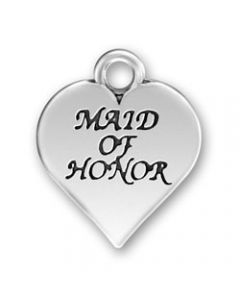 "Sterling Silver Wedding Bridal Party Charm: Heart w/ ""Maid Of Honor"""