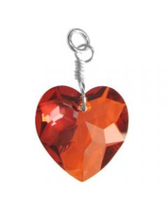 Sterling Silver & Blood Red Swarovski Crystal Heart Charm