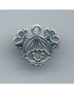 Sterling Silver Girl Head Charm U-671