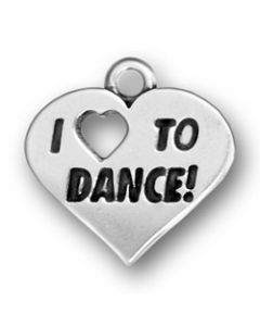 "Sterling Silver Dance Charm: ""I * To Dance"""