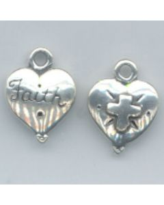 Sterling Silver Heart Charm: Faith