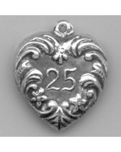 "Sterling Silver Wedding or Anniversary Charm: ""25"" on Heart"
