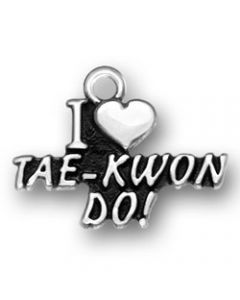 "Sterling Silver Martial Arts Charm: ""I * Tae-Kwon Do!"""