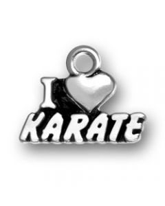 "Sterling Silver Martial Arts Charm: ""I * Karate"""