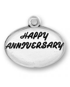 "Sterling Silver Wedding or Anniversary Charm: ""Happy Anniversary"" on Oval Disk"