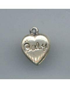 "Sterling Silver Baby Heart Charm: Heart: Puff, ""Baby"""