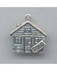 """Sterling Silver House Charm: w/ """"Sold"""" Sign"""