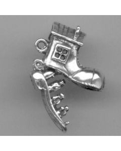 Sterling Silver Old Woman In Shoe Charm: Shoe Opens, Movable