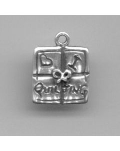 Sterling Silver Quilting Square Charm: I Love Quilting