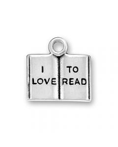 "Sterling Silver Book Charm: Open w/ ""I Love To Read"""