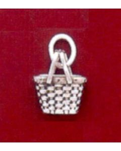 Sterling Silver Basket Charm: Harvest Basket, Mini