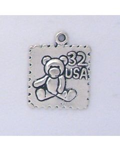 Sterling Silver Stamp Charm: Postage w/ Teddy Bear