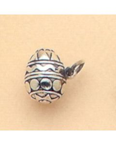 Sterling Silver Easter Egg Charm: Solid