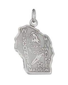 Sterling Silver State Of Wisconsin Charm