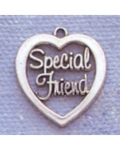 "Sterling Silver Special Friend Charm: ""Special Friend"" In Open Heart"