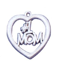 "Sterling Silver Mom Charm: ""#1 Mom"" In Open Heart"