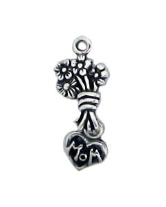 "Sterling Silver Mom Charm: ""Mom"" In Heart w/ Bouquet Of Flowers"