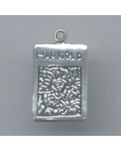 Sterling Silver Gardening Seed Packet Charm: Marigolds