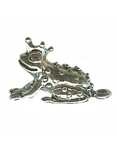 Sterling Silver Frog Charm: W/ Crown (Frog Prince)