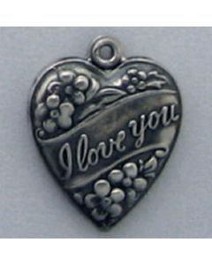 "Sterling Silver Heart Charm: Puff, ""I Love You"""