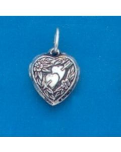 Sterling Silver Heart Charm: Puff, Double, Heart/Arrow