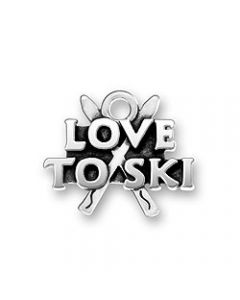 "Sterling Silver Ski Charm: ""Love To Ski"" X-750"
