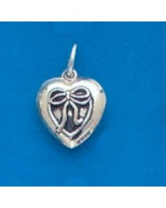 Sterling Silver Heart Charm: Puff, Bow