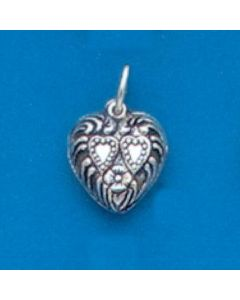 Sterling Silver Heart Charm: Puff, Double Hearts