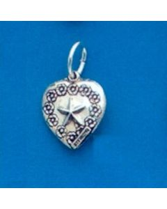 Sterling Silver Heart Charm: Puff, Star