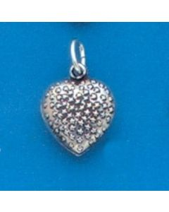 Sterling Silver Heart Charm: Puff, Strawberry