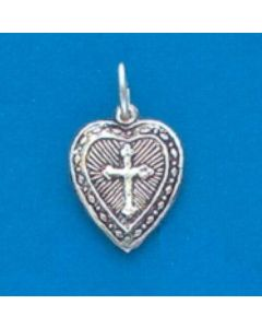 Sterling Silver Heart Charm: Puff, Cross  X-761